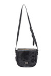 KADIE ASHMAN SOPHIA BLACK ALLIGATOR VEGAN LEATHER SATCHEL MESSENGER BAG J99122BLK