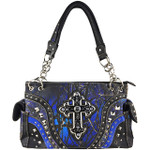 BLUE MOSSY CAMO STUDDED RHINESTONE CROSS LOOK SHOULDER HANDBAG HB1-22LCRBLU