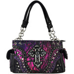 PURPLE MOSSY CAMO STUDDED RHINESTONE CROSS LOOK SHOULDER HANDBAG HB1-22LCRPPL