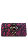 PURPLE MOSSY CAMO STUDDED RHINESTONE CROSS LOOK CLUTCH TRIFOLD WALLET CB1-0480PPL