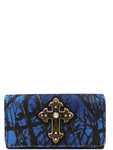 BLUE MOSSY CAMO STUDDED RHINESTONE CROSS LOOK CLUTCH TRIFOLD WALLET CB1-0480BLU