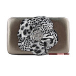GRAY LEOPARD FLOWER DISTRESSED LOOK FLAT THICK WALLET FW2-0751GRY