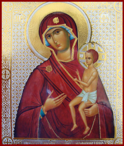Small Silk-screen Icon of Mother of God, Nurturer of Children
