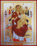 Small Silk-screen Icon of Mother of God, Healer of Cancer