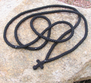 300-knot prayer rope - 4 ply with black beads