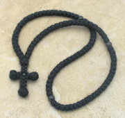100-knot wool prayer rope with black obsidia beads
