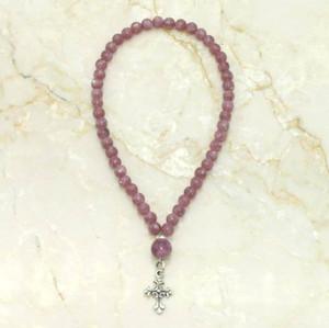 Lepidolite & sterling silver 50-bead Prayer Rope