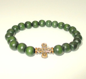 Green Wooden Bead Prayer Bracelet
