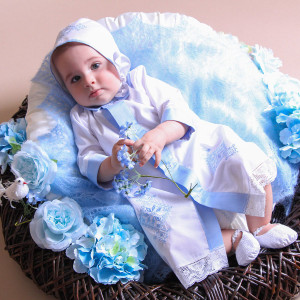 Baby Baptism Gown and Bonnet