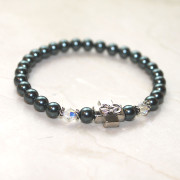 Blue Spruce Swarovski Pearl Prayer Bracelet