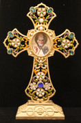 Jeweled Standing Cross with St. Nicholas Icon