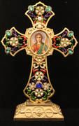 Jeweled Standing Cross with Icon of Archangel Michael