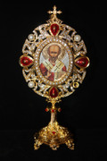 Jeweled Icon Stand - St. Nicholas