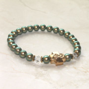 Golden Sage Swarovski Pearl Prayer Bracelet