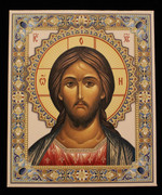 Embossed Icon of Christ with Standing Frame
