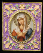 Mother of God of Tender Feeling Enamel Icon Frame - Purple