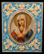 Mother of God of Tender Feeling Enamel Icon Frame - Blue