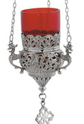 Hanging Vigil Lamp - Silver/Red