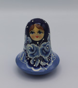 Roly Poly Doll - Blue on blue