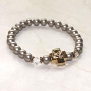 Platinum Swarovski Pearl Prayer Bracelet