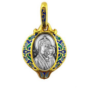 Mother of God of Kazan enamel pendant