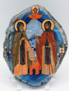 Agate Icon - Sts. Peter and Fevronia of Murom 2