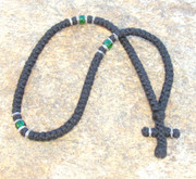 100-knot Greek with Accents - 3 ply with Green Beads