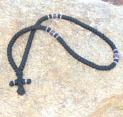 100-knot Greek with Accents - 3 ply with Purple Beads