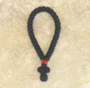 33-knot Greek Prayer Rope - 3 ply with Red Bead