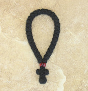 33-knot Greek Prayer Rope - 3 ply with Garnet Bead