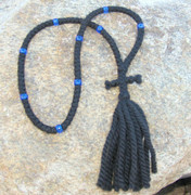 100-knot Russian Prayer Rope - 3 ply with Blue Beads