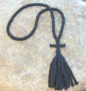 100-knot Russian Prayer Rope - 3 ply with Black Beads
