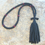 100-knot Russian Prayer Rope - 3 ply with Garnet Beads