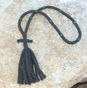 100-knot Russian Prayer Rope - 3 ply with Green Beads