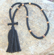 100-knot Russian Prayer Rope - 3 ply with Olive Wood Beads