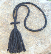 100-knot Russian Prayer Rope - 3 ply with Black Wood Beads