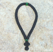 50-Knot Greek Prayer Rope - 3 ply with Green Bead
