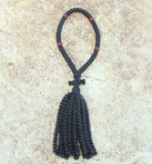 50-Knot Russian Prayer Rope - 2 ply with Garnet Beads