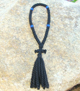 50-Knot Russian Prayer Rope - 3 ply with Blue Beads
