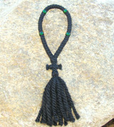50-Knot Russian Prayer Rope - 3 ply with Green Beads