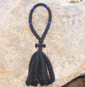50-Knot Russian Prayer Rope - 4 ply with Blue Beads