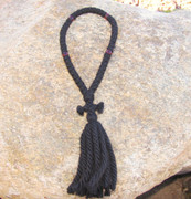 50-Knot Russian Prayer Rope - 4 ply with Garnet Beads
