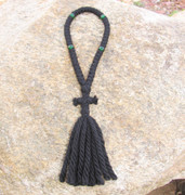 50-Knot Russian Prayer Rope - 4 ply with Green Beads