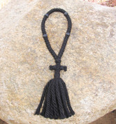 50-Knot Russian Prayer Rope - 4 ply with Black Wood Beads