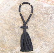 50-Knot Russian Prayer Rope - 4 ply with Gold Metallic Beads