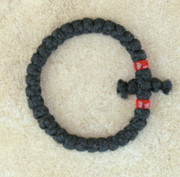 33-Knot Bracelet with Cross Bar - 2 ply with Red Beads