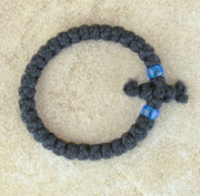 33-Knot Bracelet with Cross Bar - 2 ply with Blue Beads