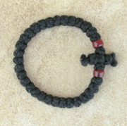 33-Knot Bracelet with Cross Bar - 2 ply with Garnet Beads