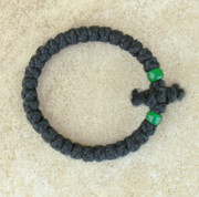 33-Knot Bracelet with Cross Bar - 2 ply with Green Beads