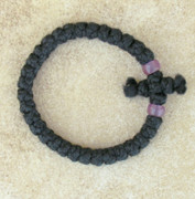 33-Knot Bracelet with Cross Bar - 2 ply with Purple Beads